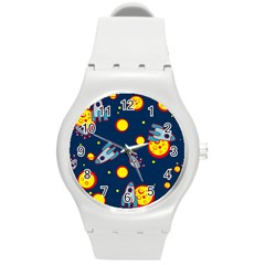Rocket Ufo Moon Star Space Planet Blue Circle Round Plastic Sport Watch (m) by Mariart