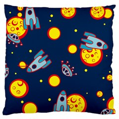 Rocket Ufo Moon Star Space Planet Blue Circle Large Cushion Case (two Sides) by Mariart