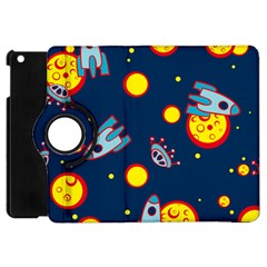 Rocket Ufo Moon Star Space Planet Blue Circle Apple Ipad Mini Flip 360 Case by Mariart
