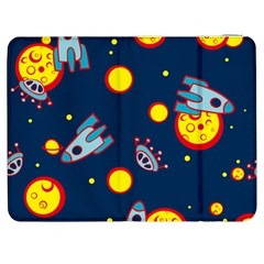 Rocket Ufo Moon Star Space Planet Blue Circle Samsung Galaxy Tab 7  P1000 Flip Case by Mariart