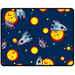 Rocket Ufo Moon Star Space Planet Blue Circle Double Sided Fleece Blanket (medium)  by Mariart