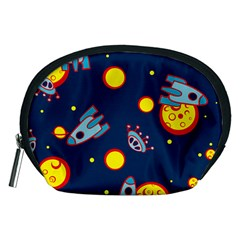 Rocket Ufo Moon Star Space Planet Blue Circle Accessory Pouches (medium)  by Mariart