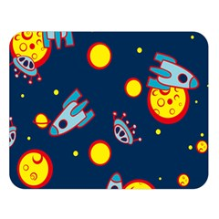 Rocket Ufo Moon Star Space Planet Blue Circle Double Sided Flano Blanket (large)  by Mariart