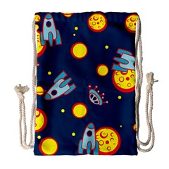 Rocket Ufo Moon Star Space Planet Blue Circle Drawstring Bag (large)