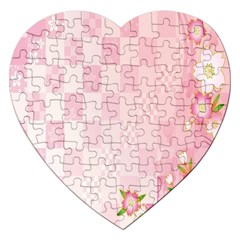 Sakura Flower Floral Pink Star Plaid Wave Chevron Jigsaw Puzzle (heart) by Mariart
