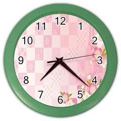 Sakura Flower Floral Pink Star Plaid Wave Chevron Color Wall Clocks by Mariart