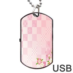 Sakura Flower Floral Pink Star Plaid Wave Chevron Dog Tag Usb Flash (two Sides) by Mariart