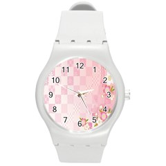 Sakura Flower Floral Pink Star Plaid Wave Chevron Round Plastic Sport Watch (m) by Mariart