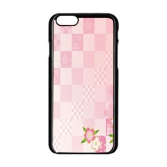 Sakura Flower Floral Pink Star Plaid Wave Chevron Apple Iphone 6/6s Black Enamel Case by Mariart