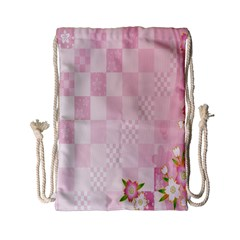 Sakura Flower Floral Pink Star Plaid Wave Chevron Drawstring Bag (small) by Mariart