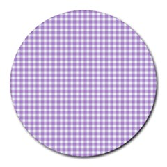Plaid Purple White Line Round Mousepads by Mariart