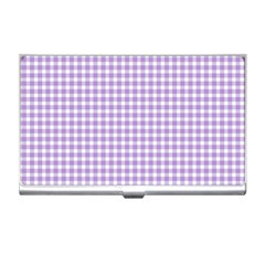 Plaid Purple White Line Business Card Holders by Mariart