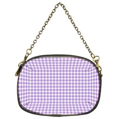 Plaid Purple White Line Chain Purses (one Side)  by Mariart