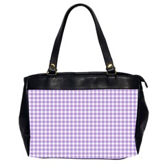 Plaid Purple White Line Office Handbags (2 Sides)  by Mariart