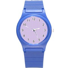 Plaid Purple White Line Round Plastic Sport Watch (s) by Mariart