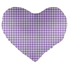 Plaid Purple White Line Large 19  Premium Flano Heart Shape Cushions by Mariart