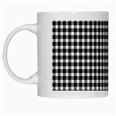 Plaid Black White Line White Mugs by Mariart