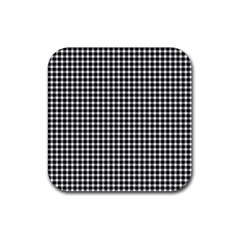 Plaid Black White Line Rubber Square Coaster (4 Pack)  by Mariart