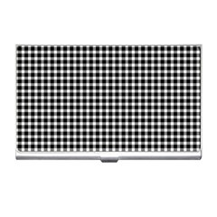Plaid Black White Line Business Card Holders by Mariart