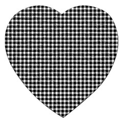 Plaid Black White Line Jigsaw Puzzle (heart) by Mariart