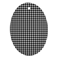 Plaid Black White Line Oval Ornament (two Sides) by Mariart