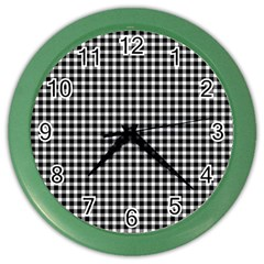 Plaid Black White Line Color Wall Clocks by Mariart