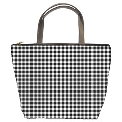 Plaid Black White Line Bucket Bags by Mariart