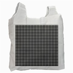 Plaid Black White Line Recycle Bag (one Side) by Mariart