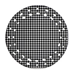 Plaid Black White Line Round Filigree Ornament (two Sides) by Mariart