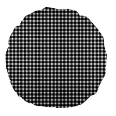 Plaid Black White Line Large 18  Premium Flano Round Cushions by Mariart