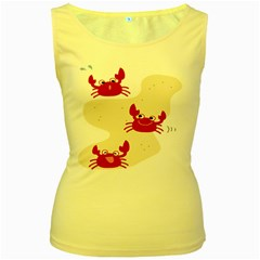 Sand Animals Red Crab Women s Yellow Tank Top