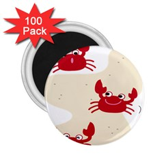 Sand Animals Red Crab 2 25  Magnets (100 Pack)  by Mariart