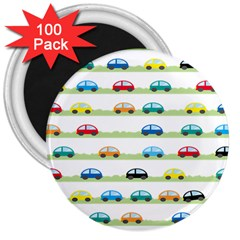 Small Car Red Yellow Blue Orange Black Kids 3  Magnets (100 Pack) by Mariart