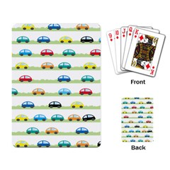 Small Car Red Yellow Blue Orange Black Kids Playing Card by Mariart