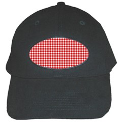 Plaid Red White Line Black Cap by Mariart