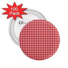 Plaid Red White Line 2 25  Buttons (100 Pack)  by Mariart