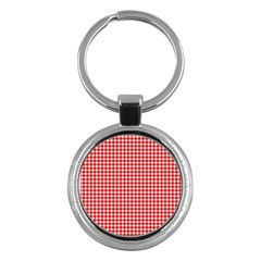 Plaid Red White Line Key Chains (round)  by Mariart