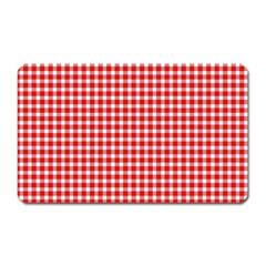 Plaid Red White Line Magnet (rectangular) by Mariart