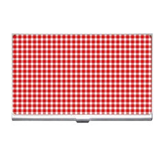 Plaid Red White Line Business Card Holders by Mariart