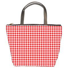 Plaid Red White Line Bucket Bags by Mariart