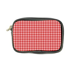 Plaid Red White Line Coin Purse by Mariart