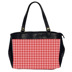 Plaid Red White Line Office Handbags (2 Sides)