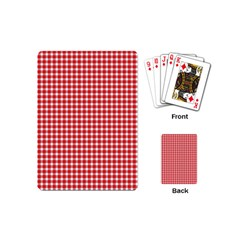 Plaid Red White Line Playing Cards (mini)  by Mariart