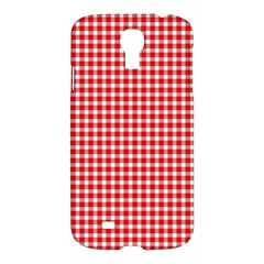 Plaid Red White Line Samsung Galaxy S4 I9500/i9505 Hardshell Case by Mariart