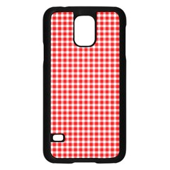 Plaid Red White Line Samsung Galaxy S5 Case (black) by Mariart