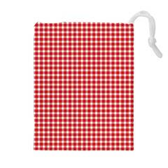 Plaid Red White Line Drawstring Pouches (extra Large) by Mariart