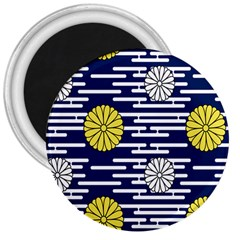 Sunflower Line Blue Yellpw 3  Magnets by Mariart
