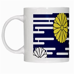 Sunflower Line Blue Yellpw White Mugs by Mariart
