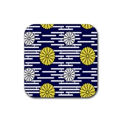 Sunflower Line Blue Yellpw Rubber Coaster (square)  by Mariart