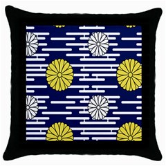 Sunflower Line Blue Yellpw Throw Pillow Case (black) by Mariart